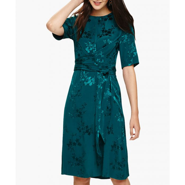 Image for Jaimee teal brocade half sleeve dress