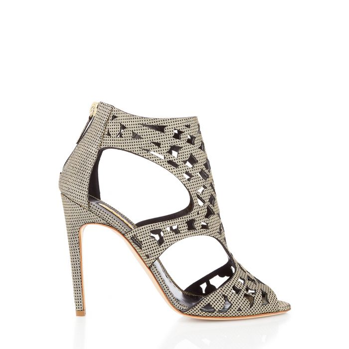 Image for Disc gold-tone cut-out heel sandals