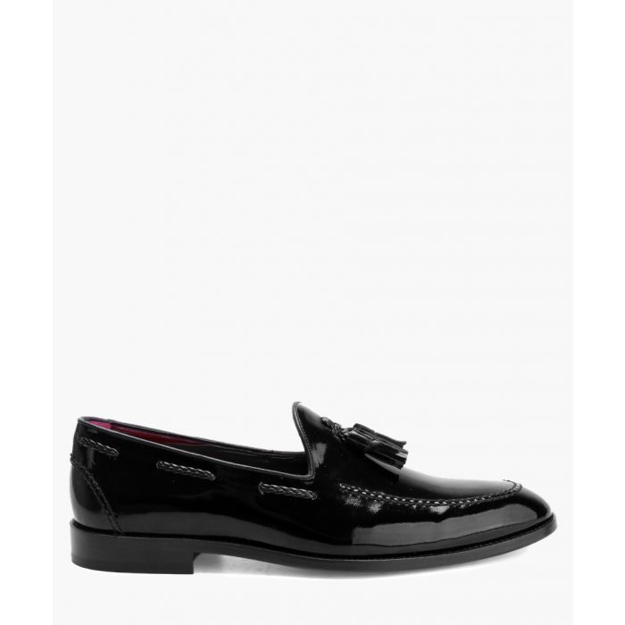 Image for Black patent leather tassel deck shoes