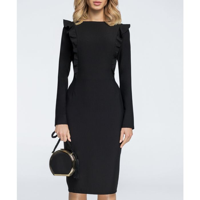 Image for Black frill midi bodycon dress