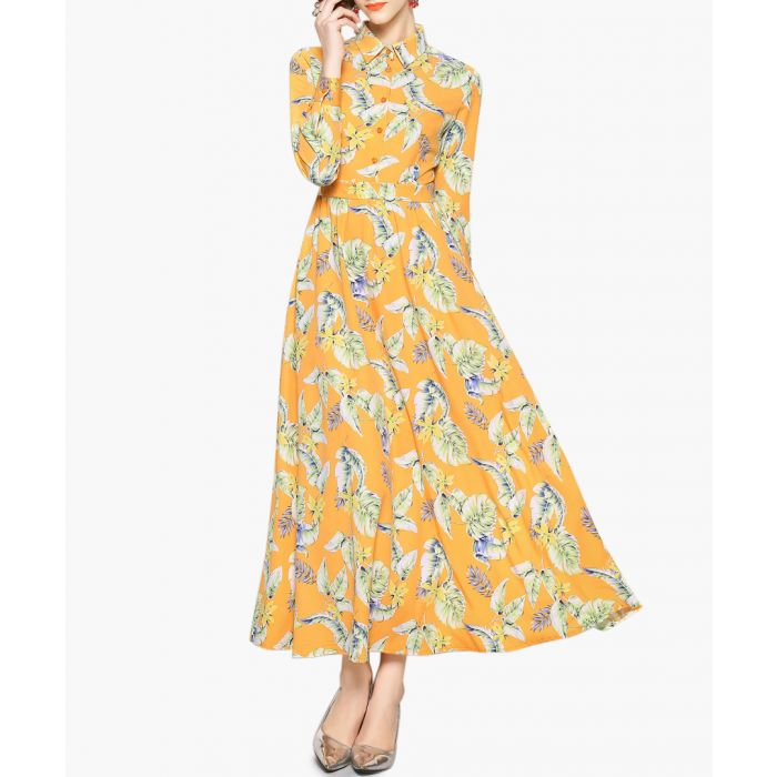 Image for Yellow floral print long sleeve dress