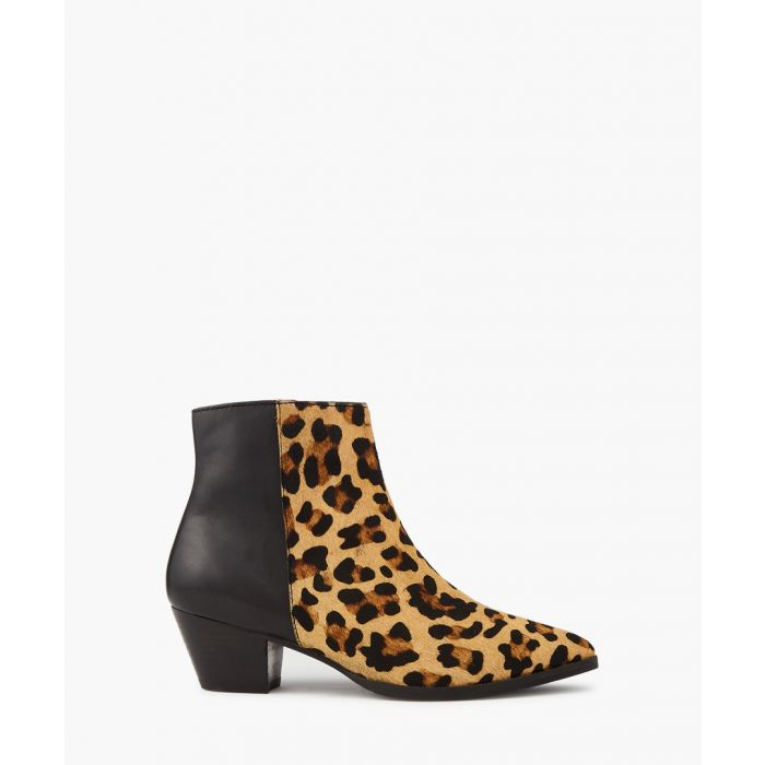 Image for Leopard print contrast ankle boots