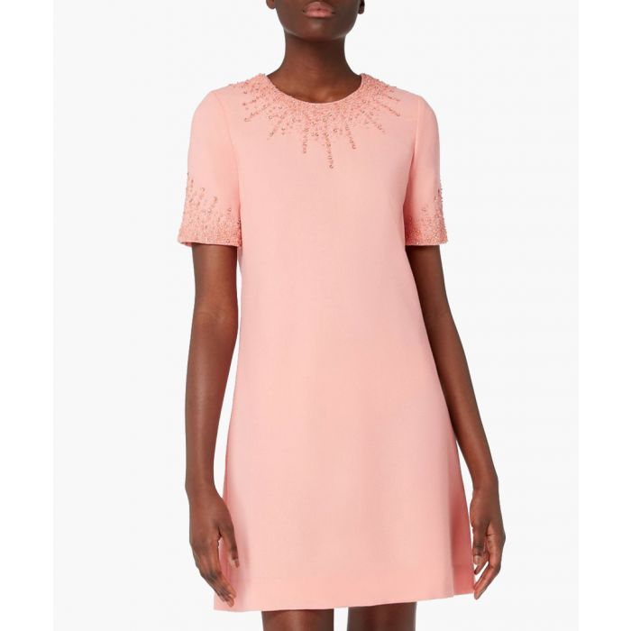 Image for Heaven pink wool crepe beaded mini dress