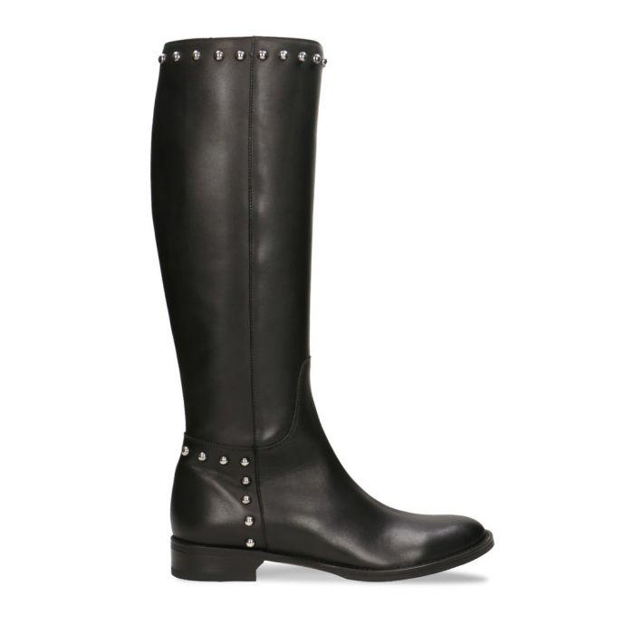 Image for Black leather studded knee-high boots