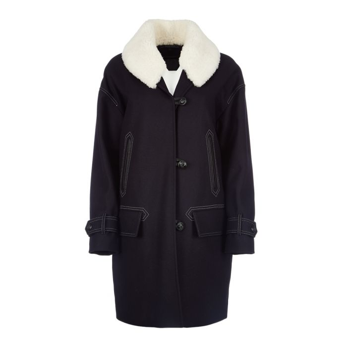 Image for Apsley navy black wool blend & fur coat