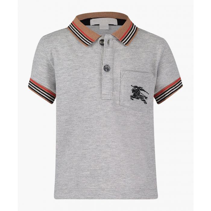 Image for Burberry Grey pure cotton logo polo shirt