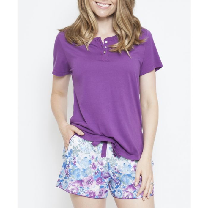 Image for Andrea purple short sleeve pyjama top
