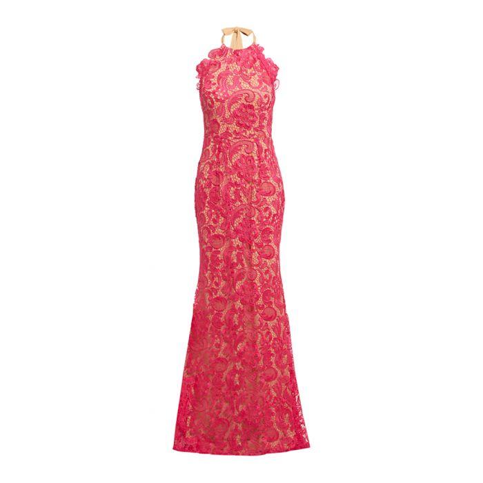 Image for Pink floral lace halterneck maxi dress