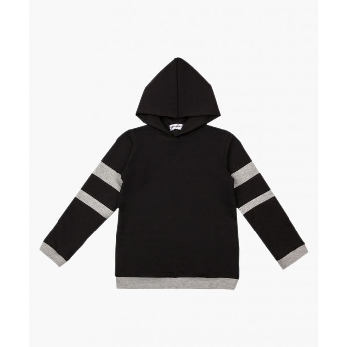 Image for Unisex black & grey pure cotton hoodie