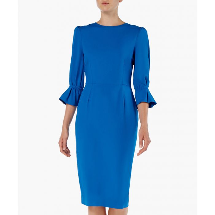 Image for Gaynor blue flare-sleeve pencil dress