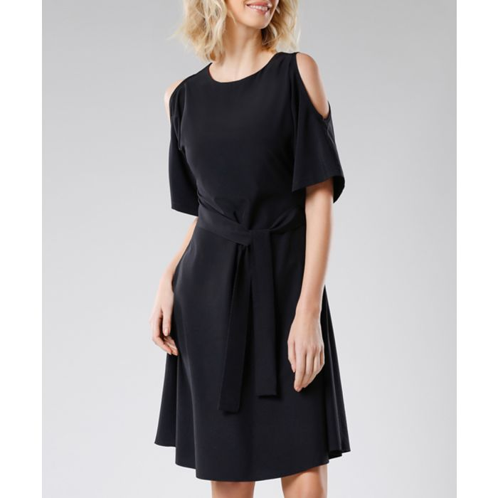 Image for Black tie-waist cold-shoulder dress