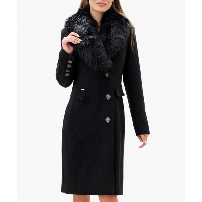 Image for Black wool blend long lapel coat