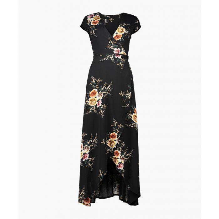 Image for Black short sleeve wrap maxi dress