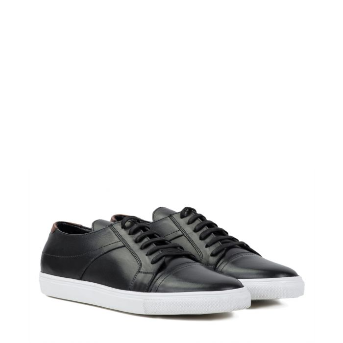 Image for Black leather lace-up sneakers