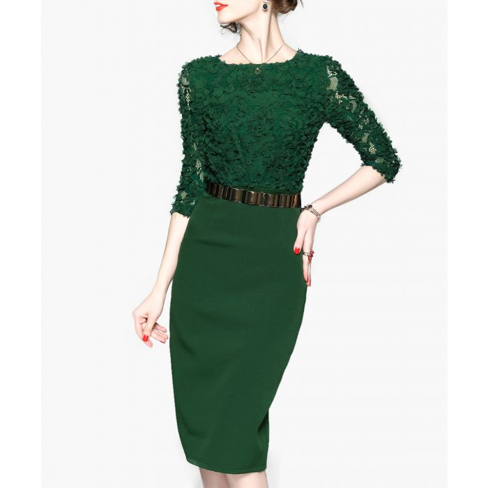 Image for Green lace 3/4 sleeve midi dress