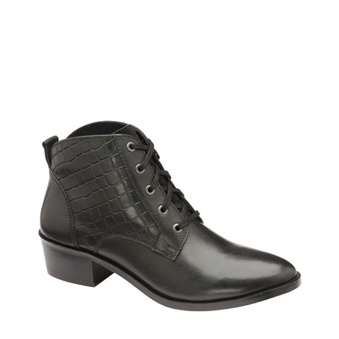 Image for Black moc-croc leather ankle boots