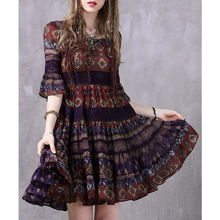 Image for Red boho printed festival dress