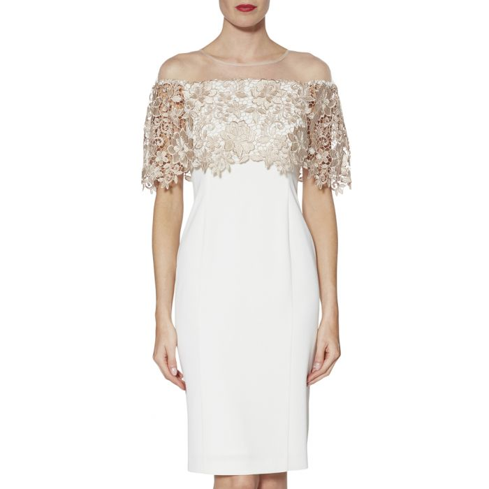 Image for Manuela almond embroidered dress
