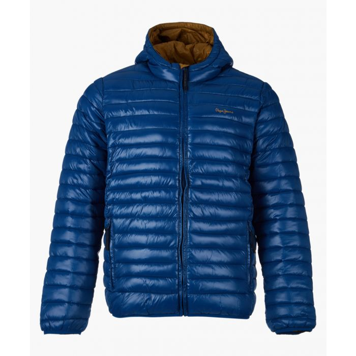 Image for Blue quilted zip-up jacket