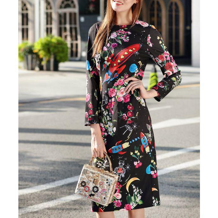 Image for Black cotton blend printed midi dress