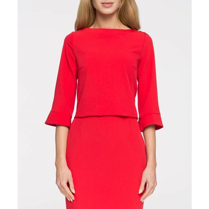 Image for Red half sleeve minimal blouse