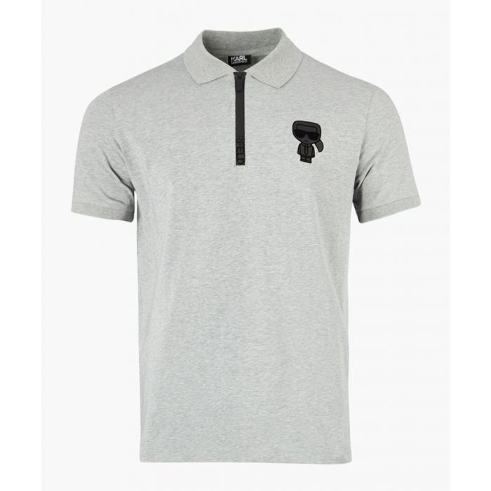 Image for Grey logo motif polo shirt