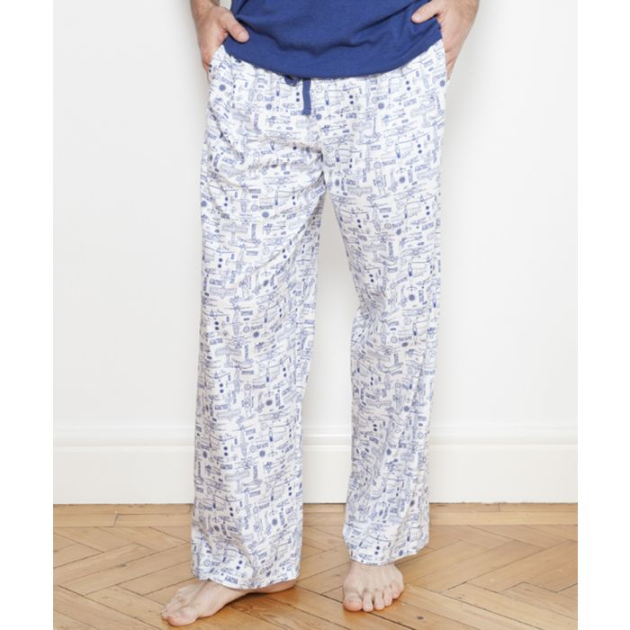 Image for Ben white plane print pyjama trousers
