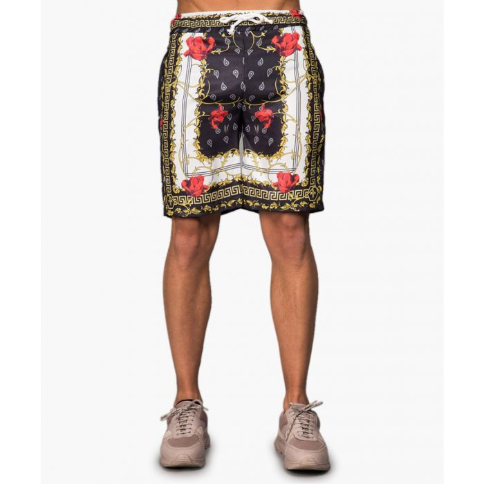 Image for Black and gold regal print shorts