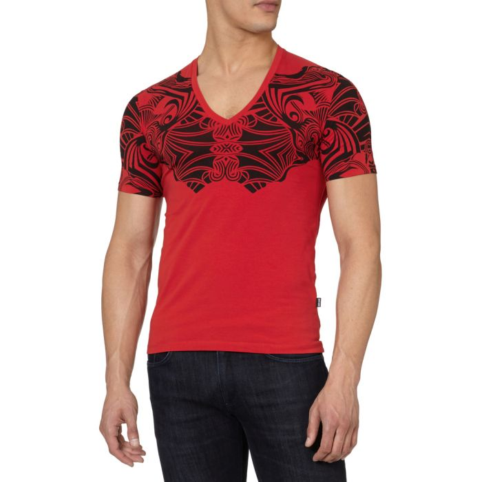 Image for Red cotton blend tribal T-shirt