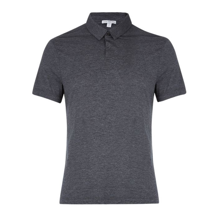 Image for Anthracite cotton blend polo shirt