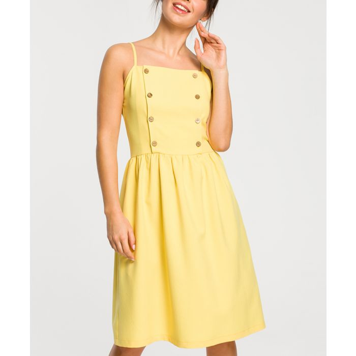Image for Yellow linen blend button day dress