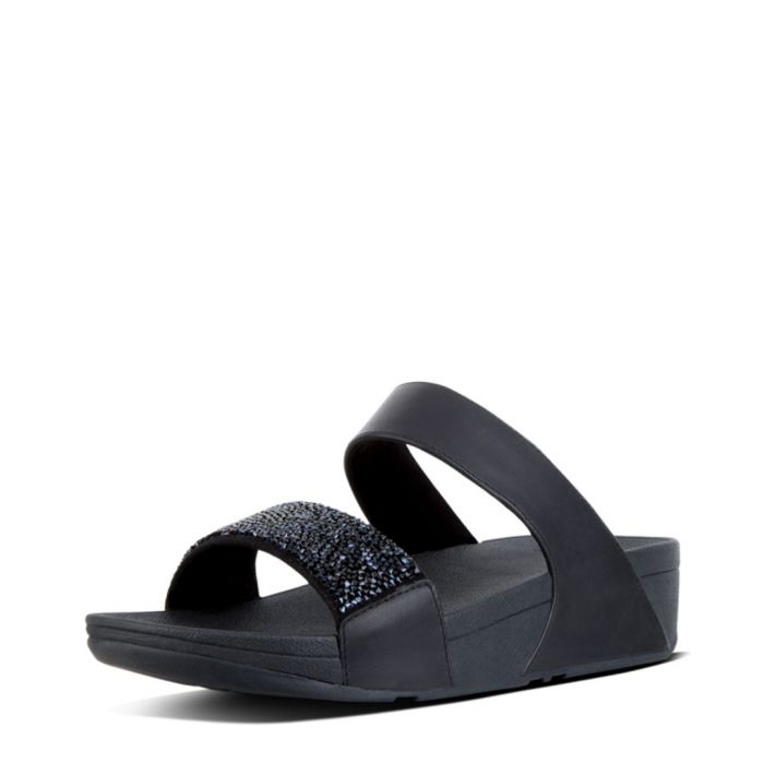 Image for Sparklie black & crystal slide sandals