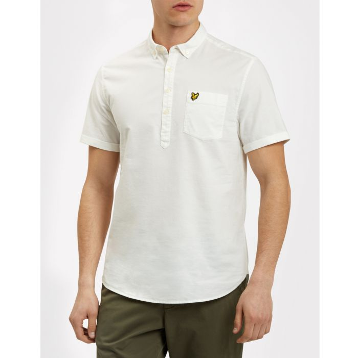 Image for White pure cotton button-collar shirt