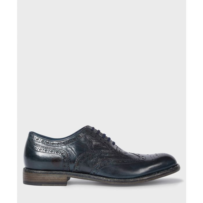 Image for Dark blue leather perforated shoes