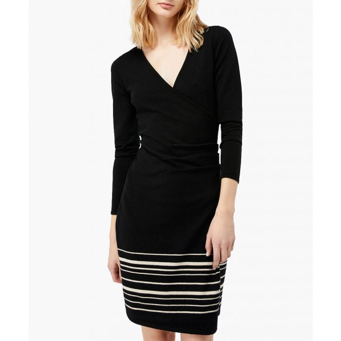 Image for Saskia black striped wrap dress