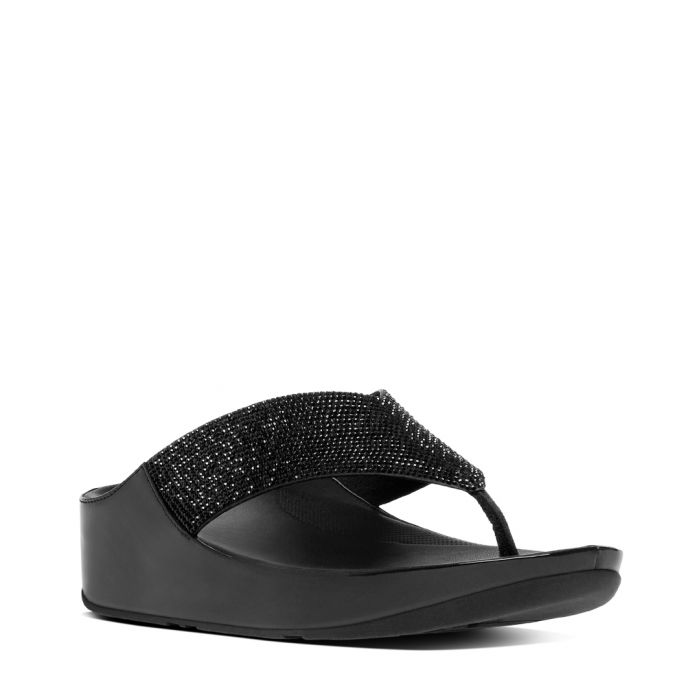 Image for Black embellished toe-post sandals