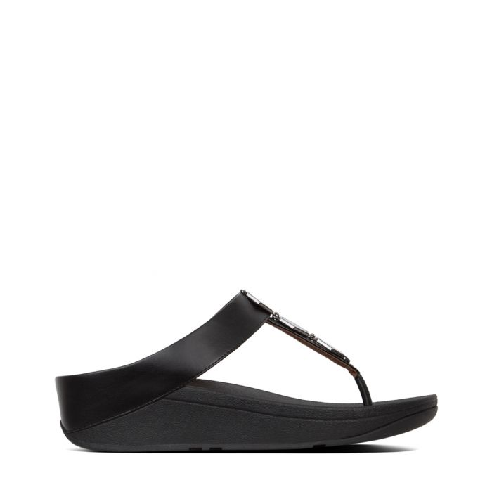 Image for Fino Hexy black faux-leather sandals