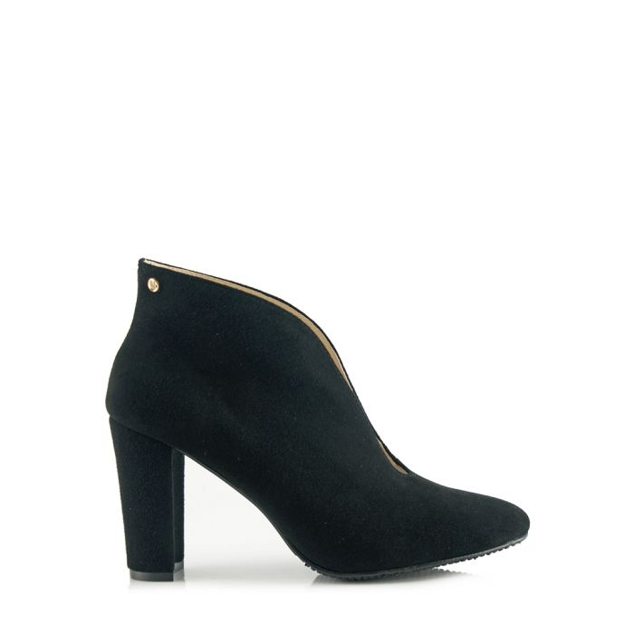 Image for Black leather heeled ankle boots