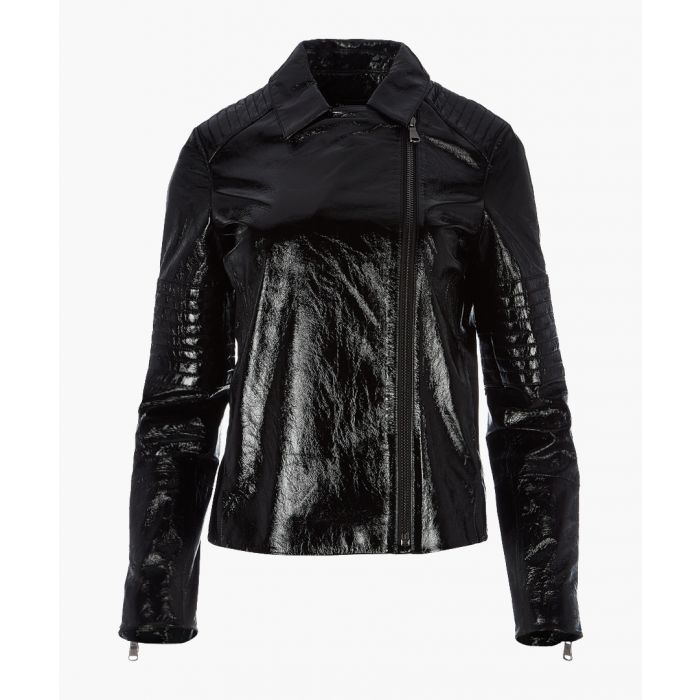 Image for Aimee patent black leather jacket