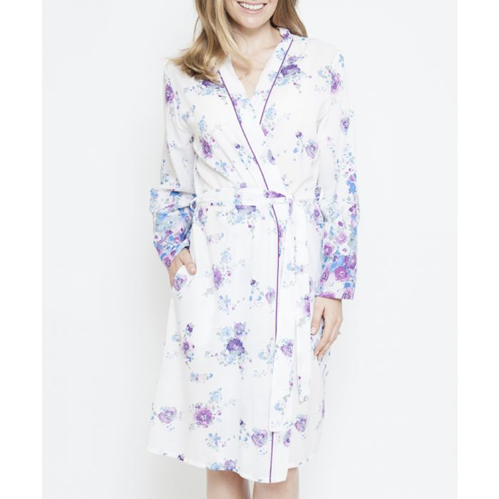 Image for Andrea white floral printed robe