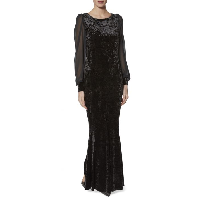 Image for Marah black crushed velvet maxi dress