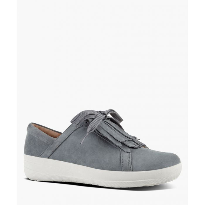 Image for Pewter suede fringe sneakers