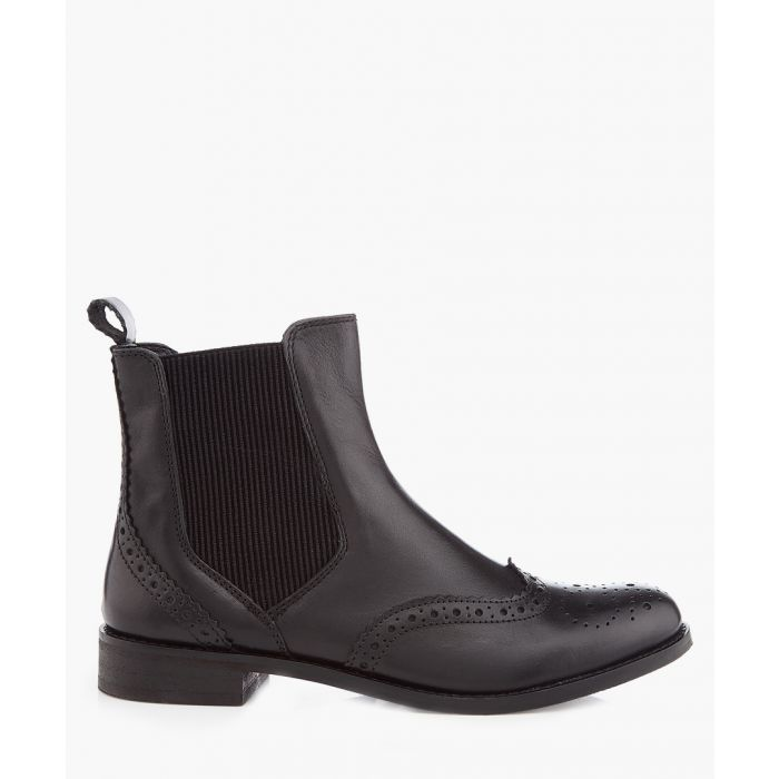 Image for Black leather wingtip Chelsea boots