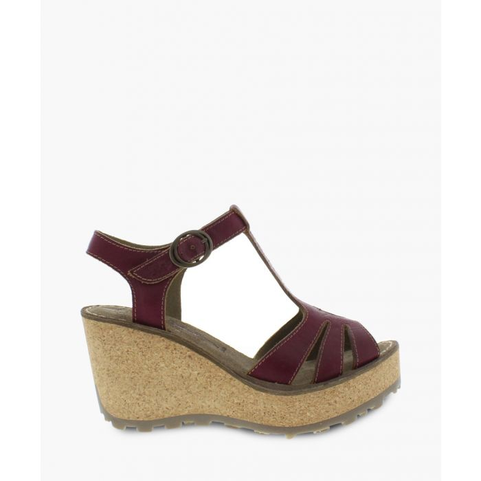 Image for Magenta leather wedge sandals