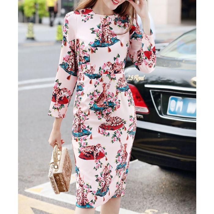 Image for Light pink cotton blend pattern dress