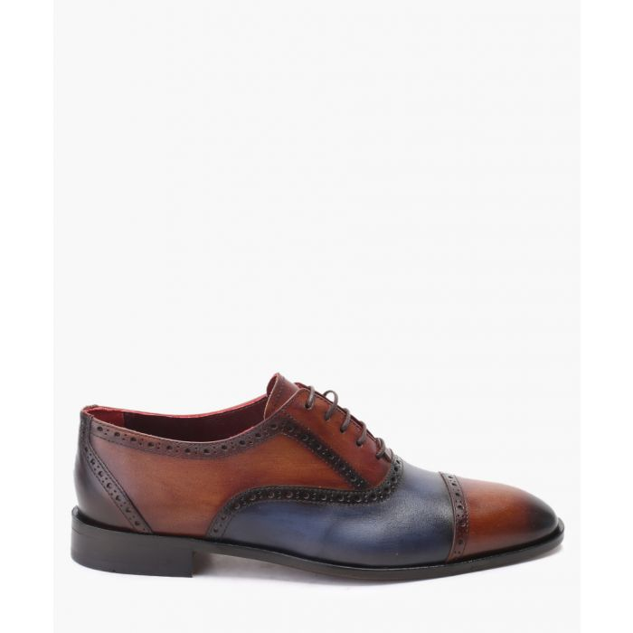 Image for Brown & blue leather Derby shoes