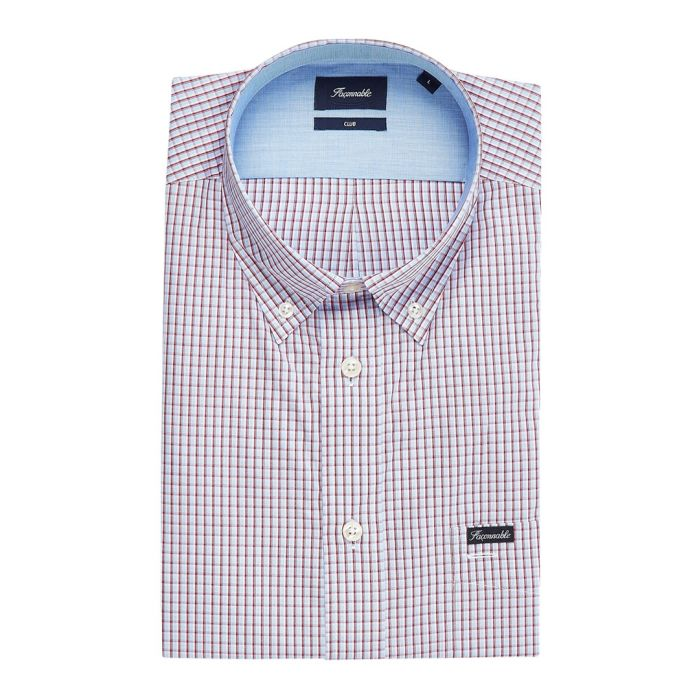 Image for Club pink micro-check button-down shirt
