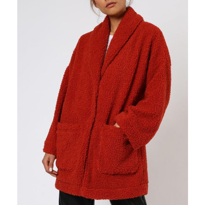 Image for Vibrant picante teddy coat
