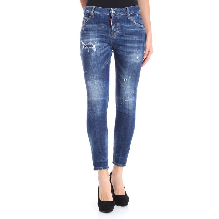 Image for Blue cotton blend distressed slim jeans