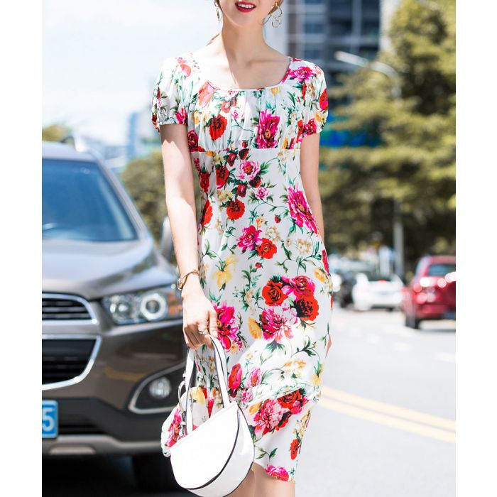 Image for White floral print pencil dress